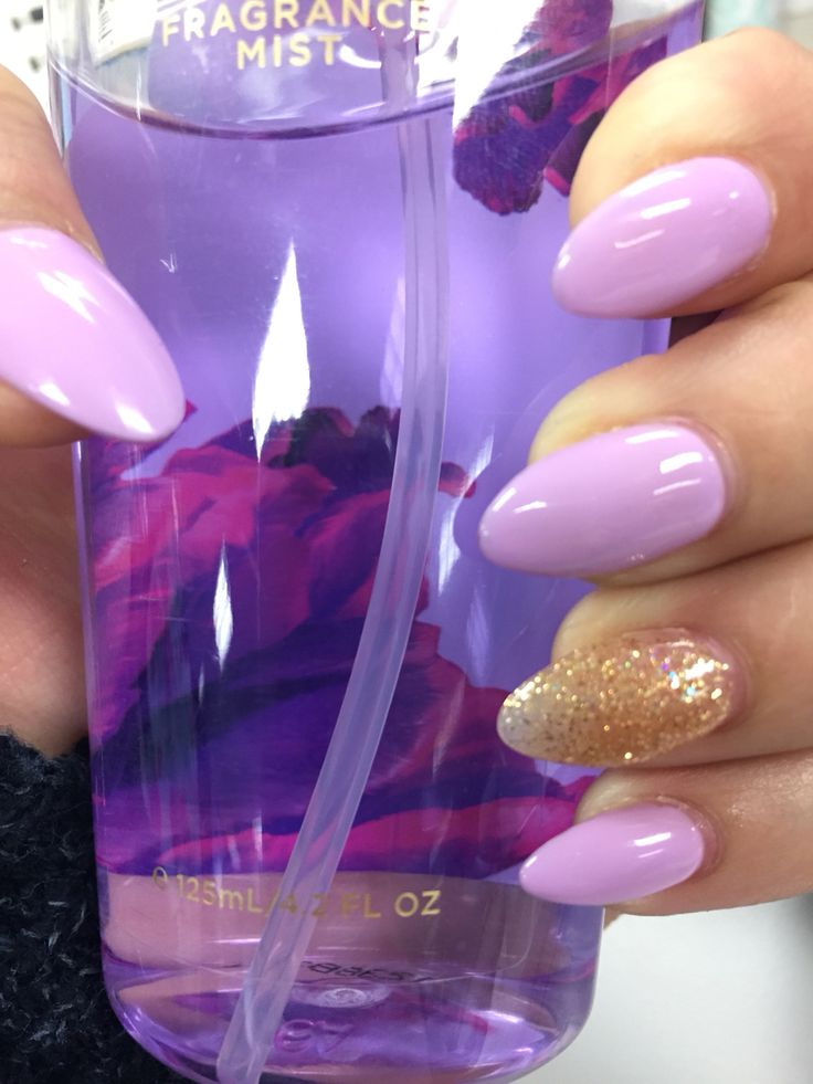Purple and gold almond shaped nails gel polish