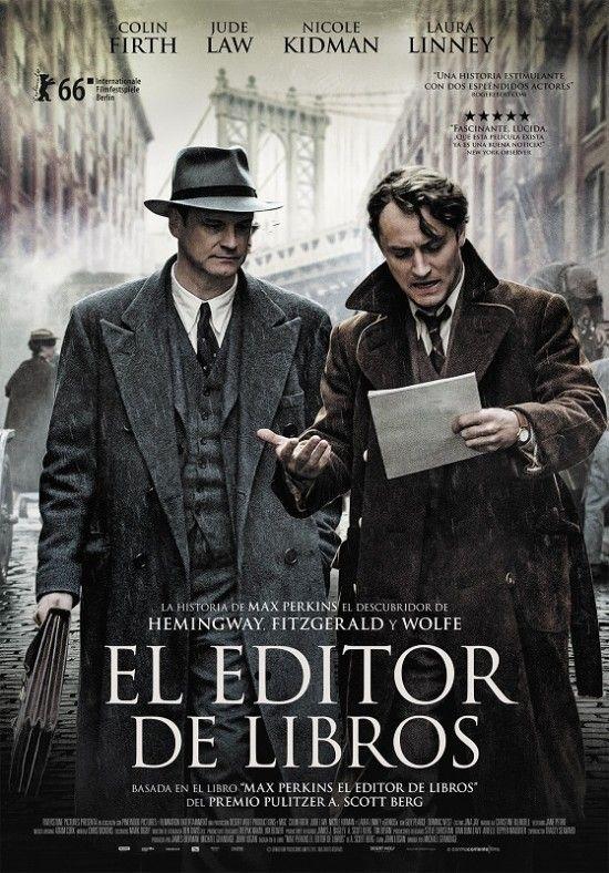 #El_editor_de_libros. Una crónica de los tiempos de Max Perkins (Colin Firth), el editor de libros más admirado en el mundo, que presentó al público a los más grandes escritores de este siglo, revolucionando la literatura americana. Incasablemente comprometido con el fomento del talento, fue la fuerza detrás de grandes estrellas literarias como F. Scott Fitzgerald (Guy Pearce), Ernest Hemingway (Dominic West) y Thomas Wolfe (Jude Law). (FILMAFFINITY)