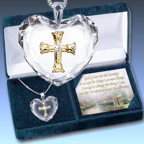 Thomas Kinkade Serenity Prayer Crystal Heart Pendant Necklace: Inspirational Jewelry Gift
