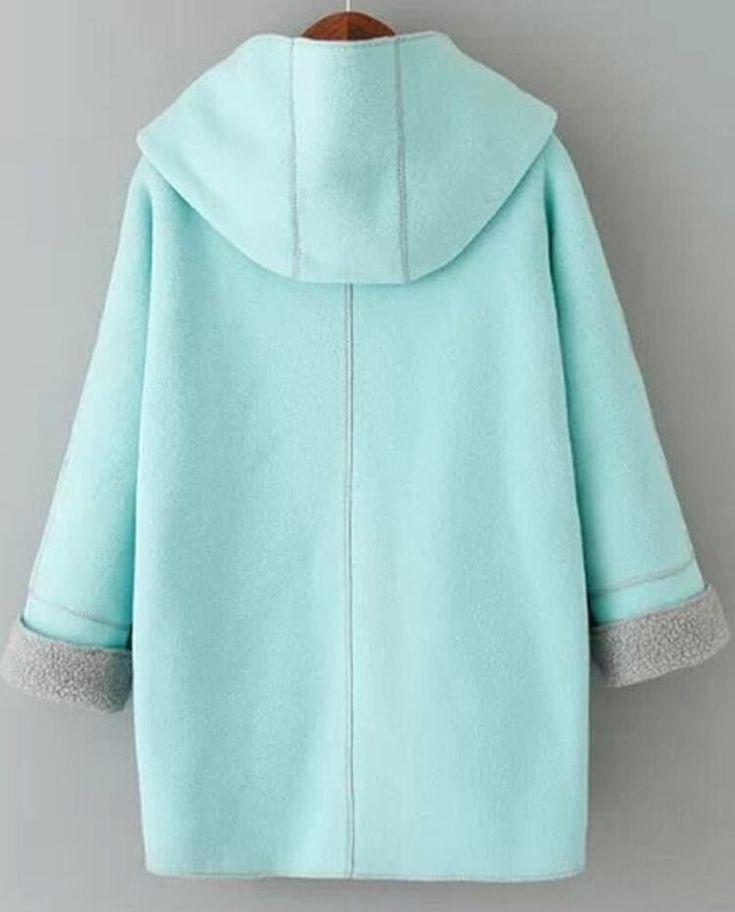 Chaqueta con capucha cuadros bolsillos manga larga-azul | SHEIN USA Kids Winter Fashion, Winter Outfits Women, Kids Outfits, Casual Outfits, Fashion Outfits, Long Sweater Coat, Long Sweaters, Long Sleeve Sweater, Coat Pattern Sewing