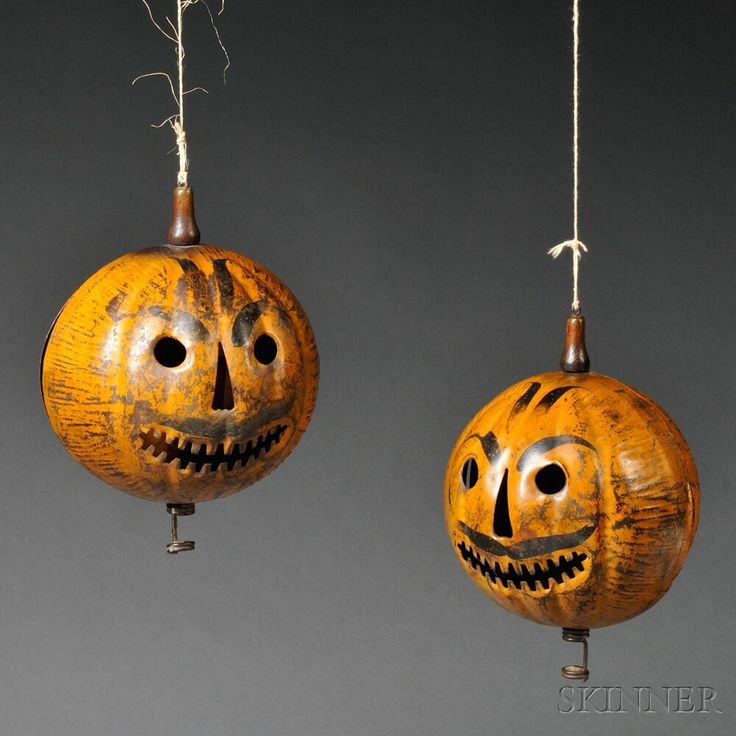 two painted tin jack o lanterns sale number 2669m lot number 632 - Vintage Halloween Decorations For Sale