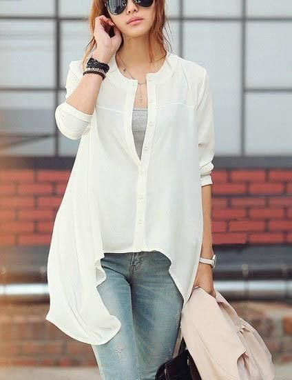 the fine city collections - assymetrical hemmed button up chiffon shirt; blk or white?