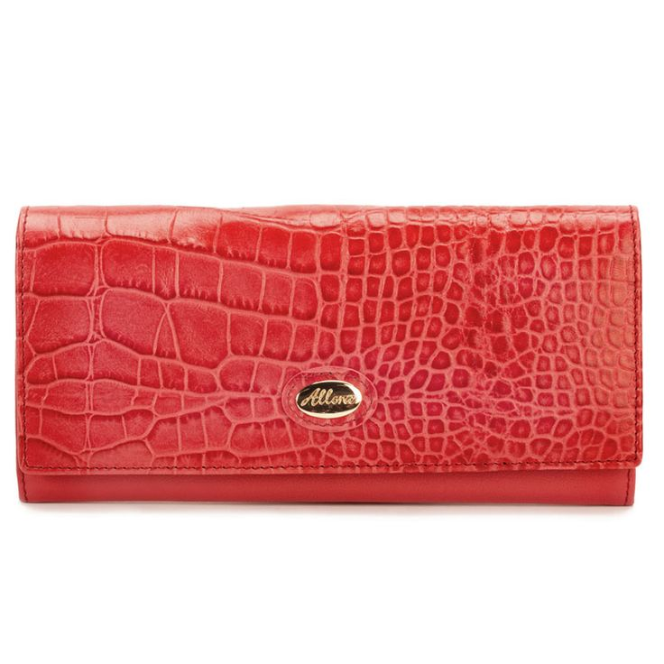 This slim profile wallet designed in a stunning croc embossed leather trim, a signature look this season.  Features      10 credit card pockets     Coin pocket with zip closure     2 multi-function internal slip pockets     1 full length note compartment     Back slip pocket     Snap closure     Full leather lining     Comes Gift Boxed     L 20cm H 10cm D 2.5cm