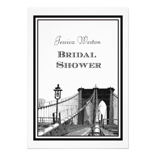 NYC Skyline Brooklyn Bridge #2 DIY Bridal Showr Personalized Invitations