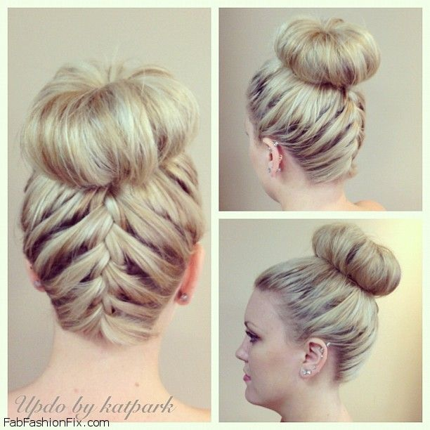 Upside Down French Braid Bun Hairstyle Tutorial