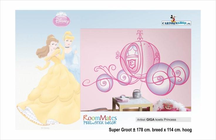 Disney decoraties Disney Princess GIGA Koets. Wat dacht je van een Prinsesjes kamer. De koets staat voor je klaar!