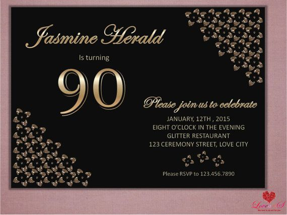 90th Birthday Invitation Any age birthday Glitter by LoveArtSyou