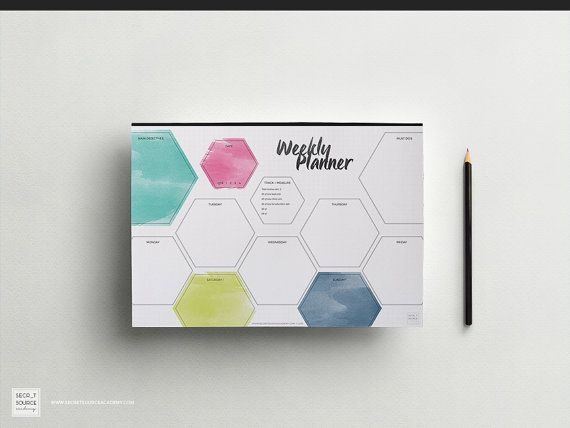 Weekly Planner Printable Organiser with To Do List for Entrepreneur Women. Watercolor. A4 Daily Schedule Organizer Instant download PDF