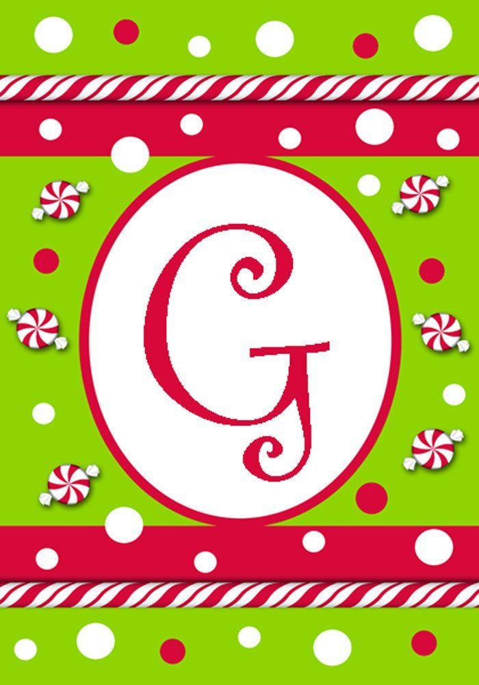 "Candy Cane Monogram ""G"" Mini Flag"