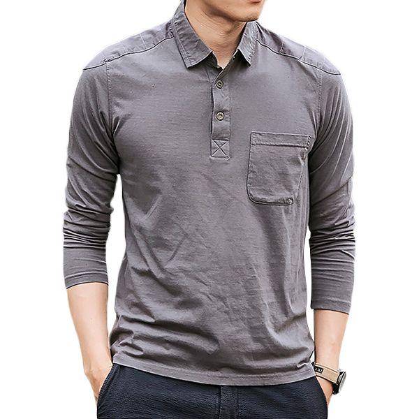 913be270372 Algodón de los hombres lavado POLO Camisa Moda solapa suelta de manga larga camiseta  Hipster Outfits
