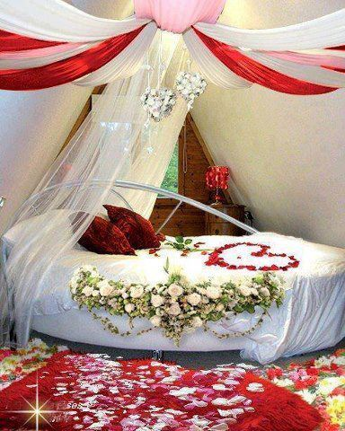50 best wedding room decoration images on pinterest for Wedding day room decoration