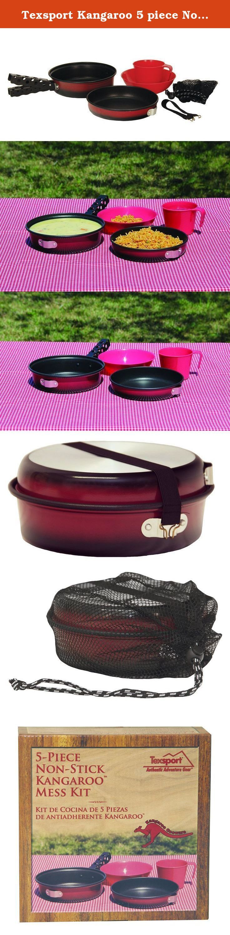 Texsport Kangaroo 5 piece Non-Stick Mess Kit Outdoor Camping Cookware Cook Set with Bowl, Cup and Storage Bag. It's easy to clean, thanks to non-stick interior coating.