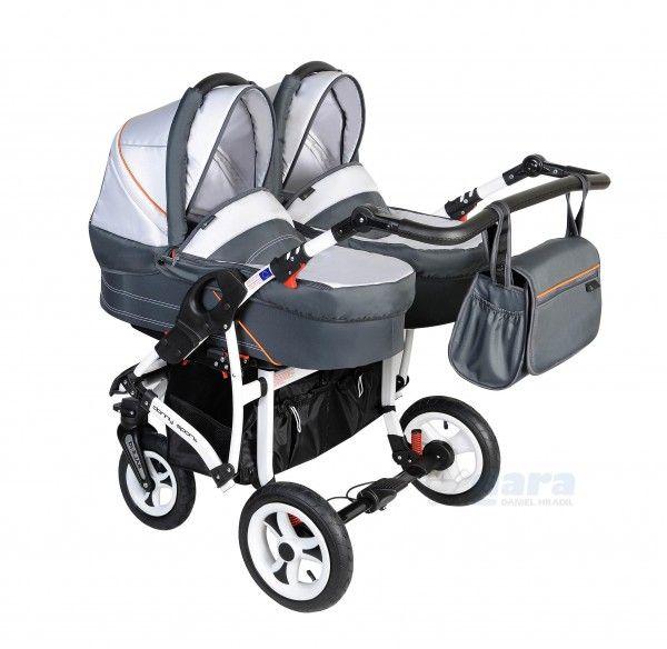 Luxusnejšie a komfortnejšie prevedenie  kombinovaného kočíka pre dvojičky s vaničkami, športovými sedadlami, nánožníkmi, taškou na kočík, pláštenkou