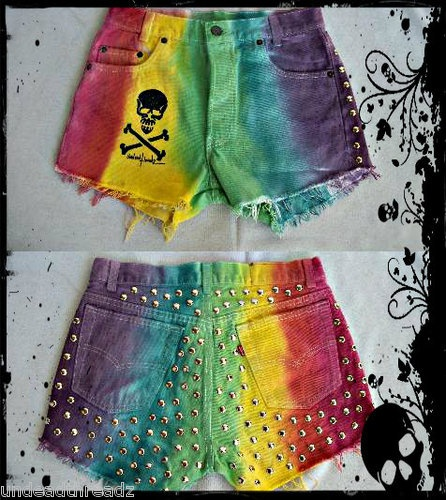 Vtg 80's Levis Festival Distressed Studded spiked Rainbow Tie dye Shorts Punk | eBay
