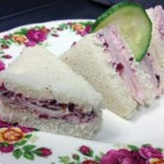 Turkey With Cranberry Butter Tea Sandwiches Recipe fingerfood, main-dish, low carb, nut free, dinner, lunch, british with 5 ingredients