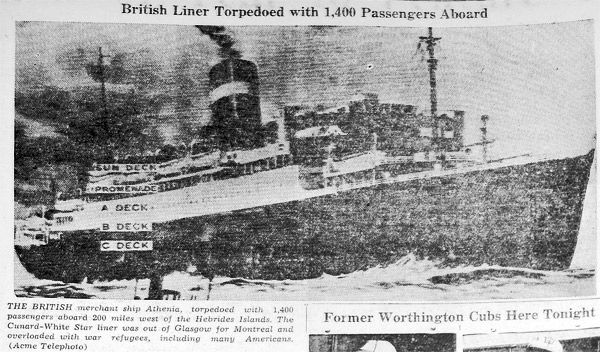 CABLES SHOW CONFUSED PICTURE OF ATHENIA TORPEDOING – By Tom Sanger - https://www.warhistoryonline.com/guest-bloggers/cables-show-confused-picture-of-athenia-torpedoing-by-tom-sanger.html