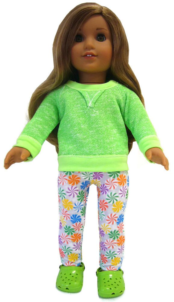 "For 18"" American Girl ; Lime Green Slouchy Top + Leggings + Krocs Doll Clothes #DollClothesSewBeautiful"