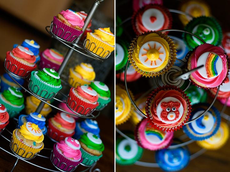 Care Bear Cup Cakes! Might end up making these for Desirae's 1st bday! perfect with the theme! Thank you Pinterest!!