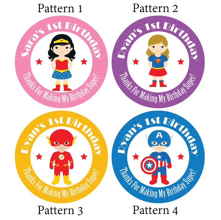 Personalised cartoon super hero birthday party stickers for goody gift bag