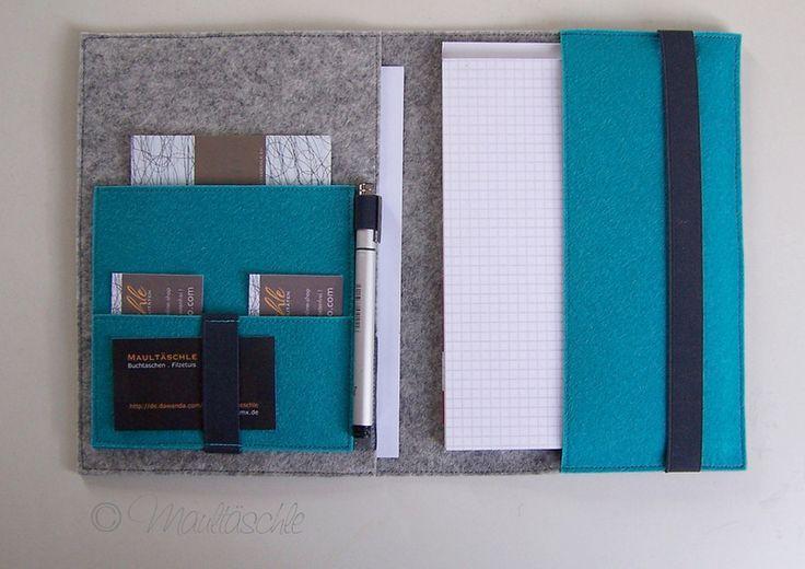 Organizer dot Schreibmappe A5 mit BlockNotizblock von Maultäschle auf DaWanda.com