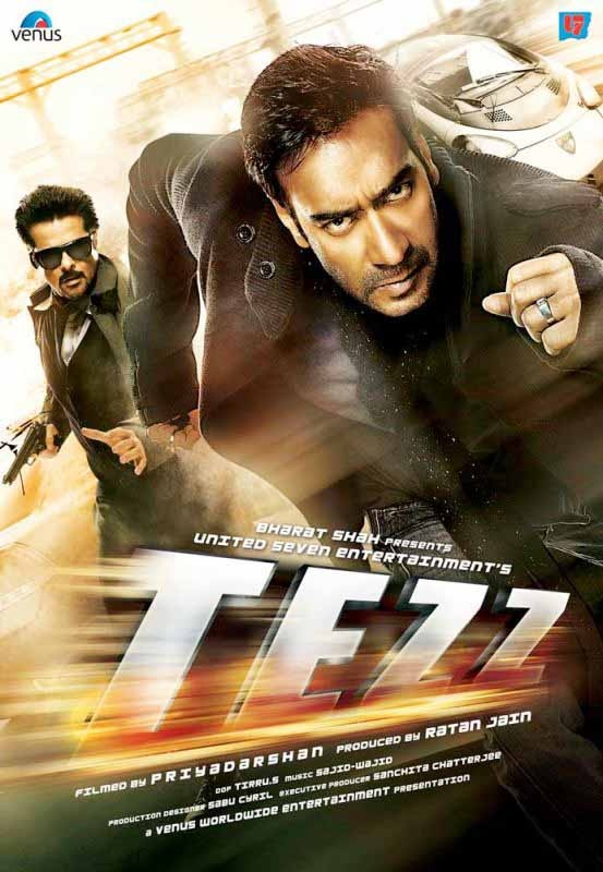 "Tezz (English: Fast/Speed) is a 2012 Hindi action thriller film directed by Priyadarshan. The film features an ensemble cast including Anil Kapoor, Ajay Devgan, Boman Irani, Kangna Ranaut, Sameera Reddy, and Zayed Khan. It also had Malayalam Superstar Mohanlal in a cameo. The stunt choreographer chosen for the movie was Gareth Milne, the stunt co-ordinator of Fantastic 4: Rise of the Silver Surfer and National Treasure: Book of Secrets.Tezz was earlier titled ""Bullet Train"". The official tr"
