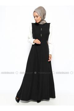 Gizli Düğmeli Kolsuz Elbise - Siyah - BÜRÜN #modasto #giyim #moda https://modasto.com/brn/kadin/br18230ct2