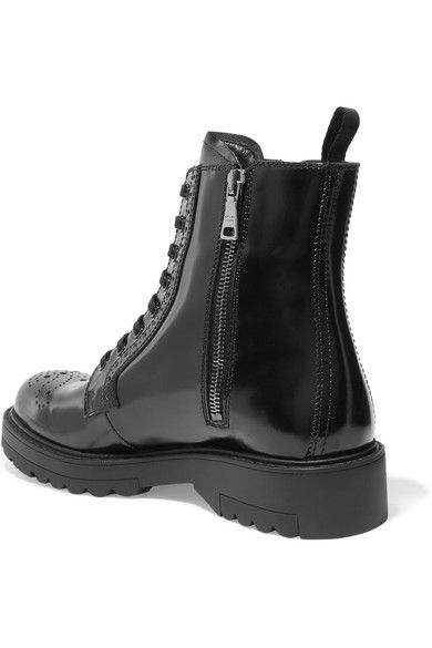Prada - Leather Ankle Boots - Black - IT40.5