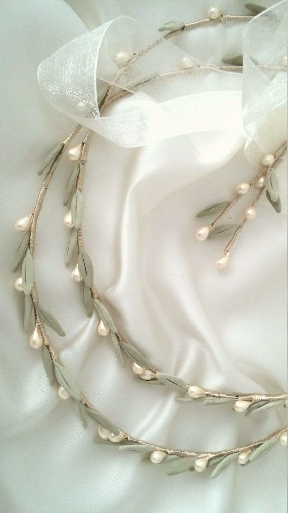Olive and pearls crowns for orthodox wedding ceremony Double Greek stefana bridal crowns made with natural silk thread