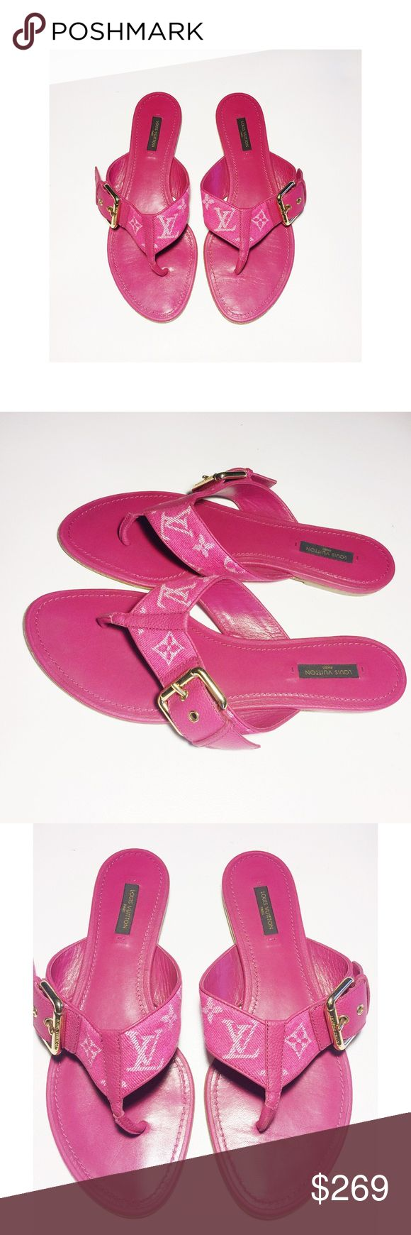 Authentic Louis Vuitton Monogram Pink Thong Sandal These authentic Louis Vuitton Monogram sandals are great for everyday use. Simple and luxurious. Gently used. Size 40. Leather insoles, lining and bottom soles. Made in Italy. Date code CL-0123. Louis Vuitton Shoes Sandals