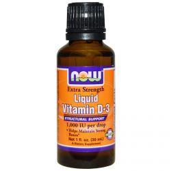 Now Foods, Liquid Vitamin D-3, Extra Strength, 1,000 Iu, 1 Fl Oz (30 Ml), Diet Suplements 蛇
