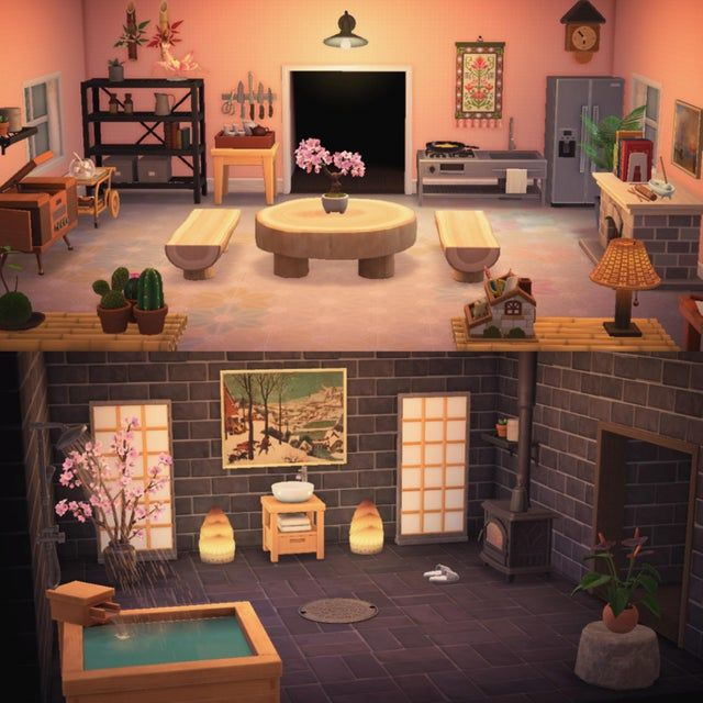 Kitchen and Bathroom - AnimalCrossing in 2020 | Animal ... on Animal Crossing Kitchen Ideas  id=67326