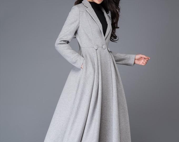 Swing coat, womens coats, gray coat, wool coat, plus size coat, long coat, winter coat, high collar, high low coat, handmade coat 0761 9
