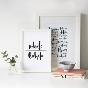 'Inhale/Exhale' Hand Lettered Print - typography