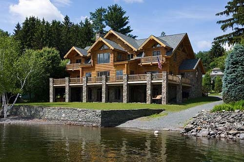 Lakeside log home for the home pinterest log cabins for Log cabin with walkout basement