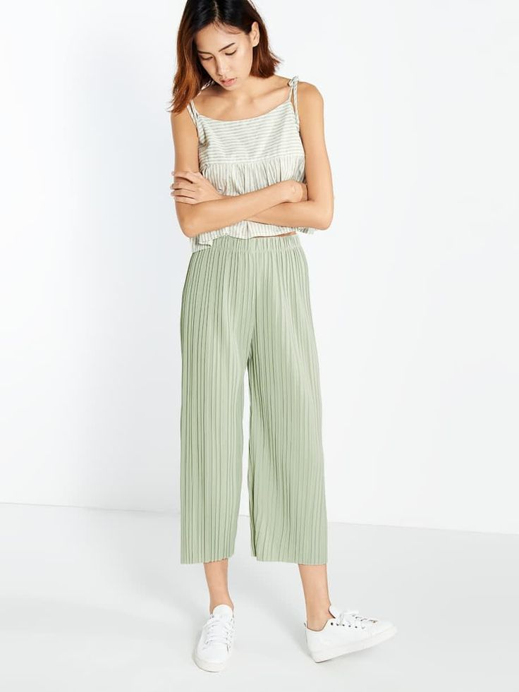 Brigitte Pleated Culottes - Light Green - Pomelo