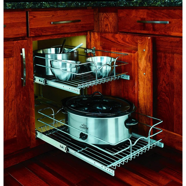 Rev a shelf 2 tier metal pull out cabinet basket at dream home pinterest baskets - Lowes kitchen shelving ...