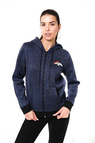 NFL Denver Broncos Womens Full Zip Knit Marl Hoodie Sweatshirt Navy Large >>> See this great product.