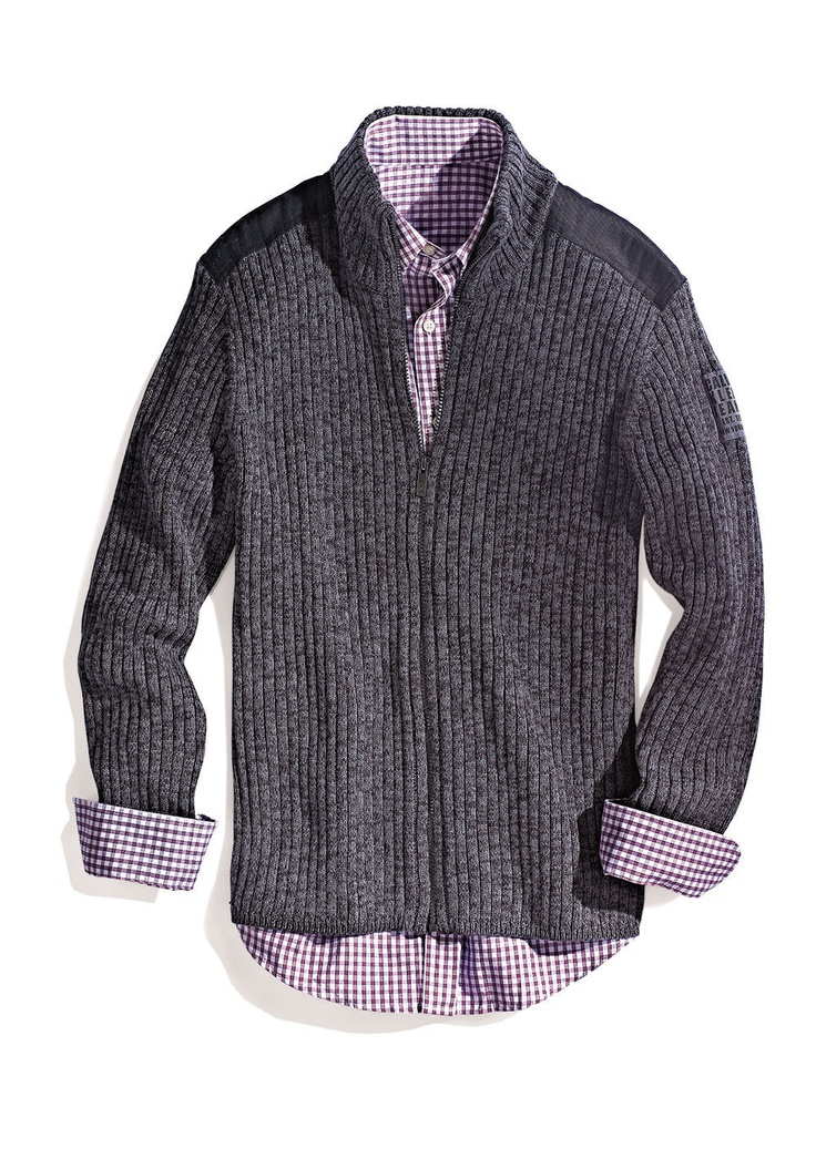 As the weather cools down, pair a gray sweater with a colorful oxford #Marshalls #falltrends
