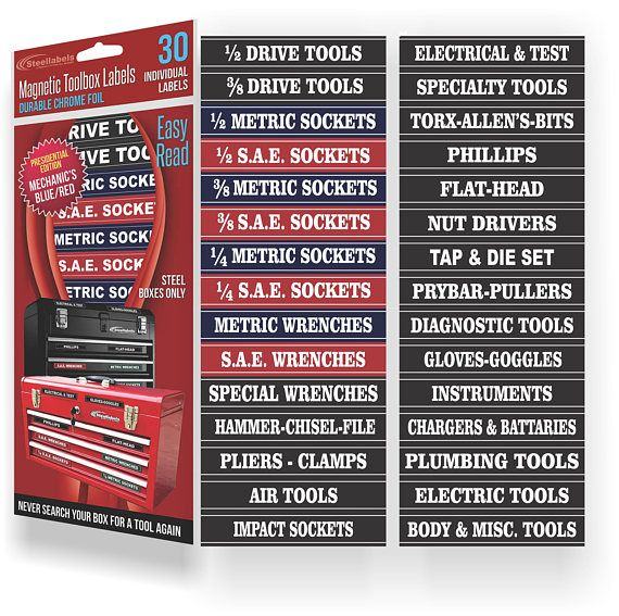 Steellabels  Magnetic Tool Box Organizer Labels