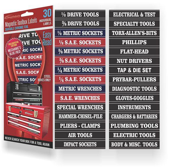 Blue Magnetic Tool Box Organizer Labels Tool Box Organization Tool Box Organizing Labels