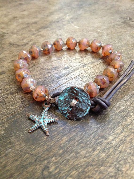 Starfish Knotted Leather Wrap Bracelet, Summer Love by Two Silver Sisters