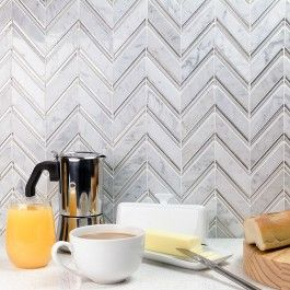 Monarch Winter Magic Marble Chevron Tile | TileBar.com