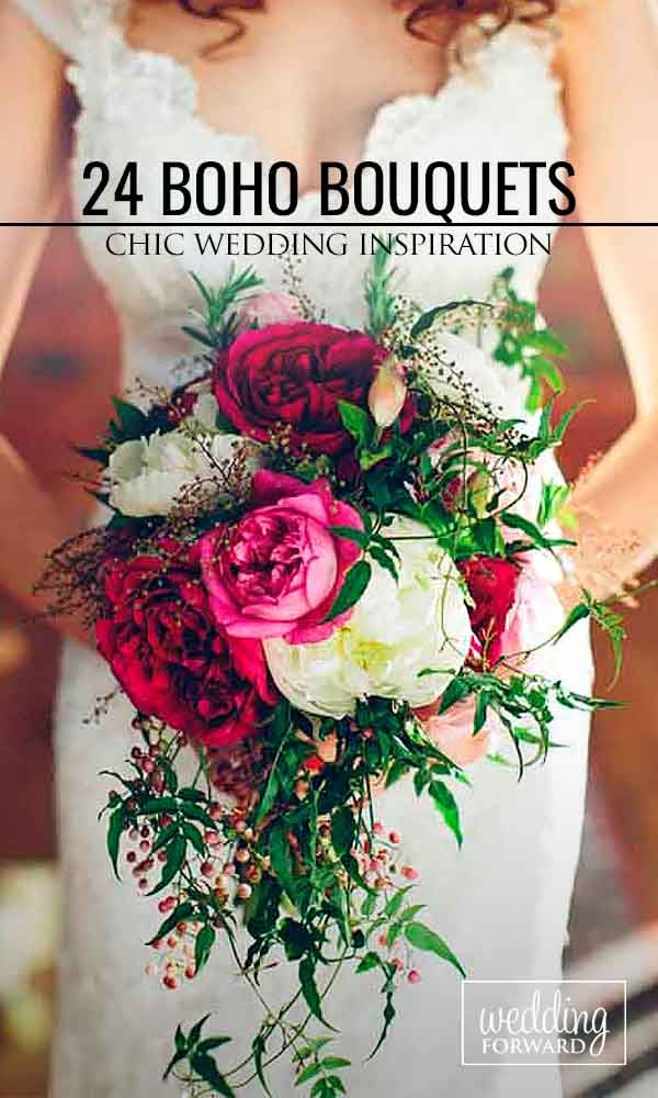 24 Bohemian Wedding Bouquets That Are Totally Chic ❤ Bohemian chic wedding…