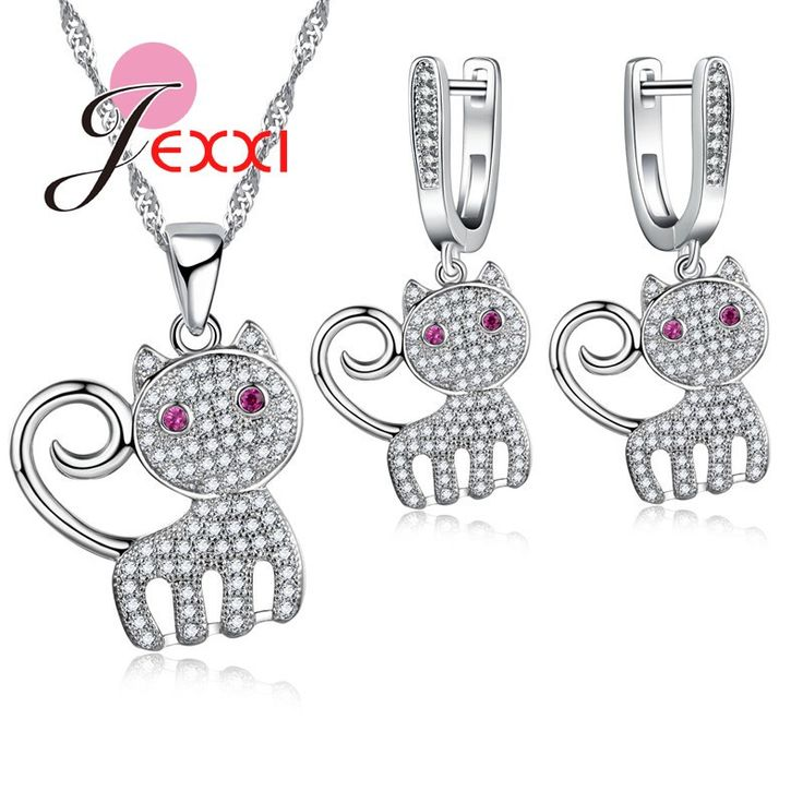 Jemmin Top Quality Cute Cat Crystal 925 Sterling Silver Jewelry Set For Female Women Necklaces Earrings Bridal Jewellery Sets