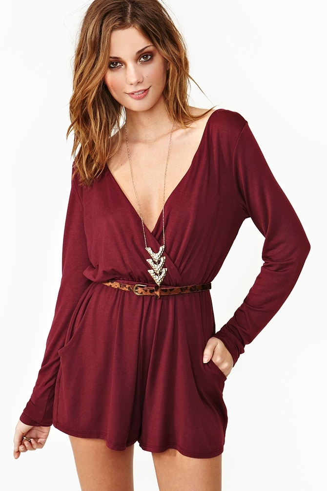 Wrapped Up Romper in Wine. Love this outfit. Especially the necklace.