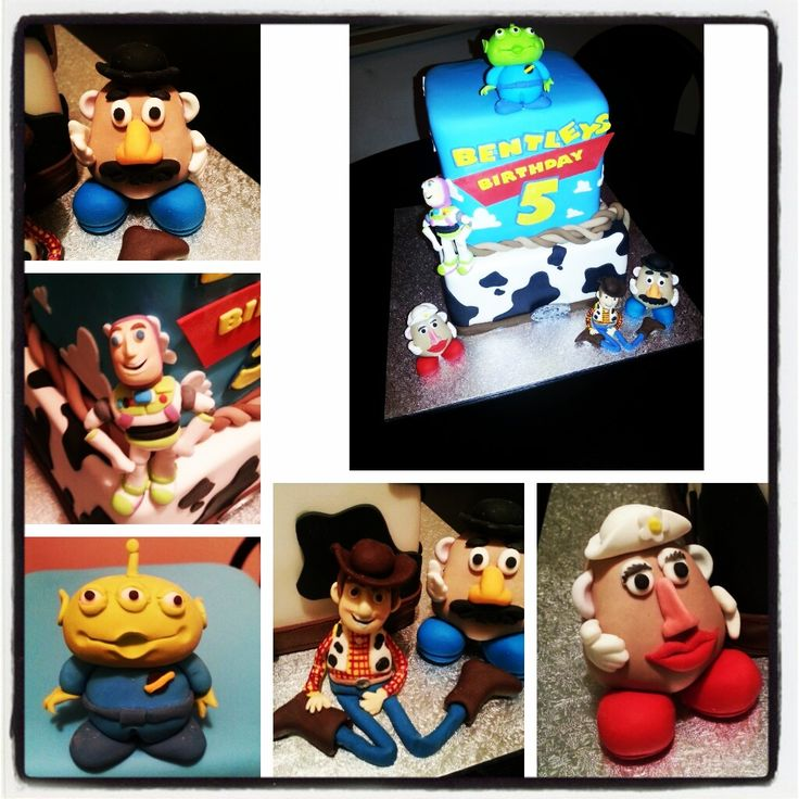 Toy story cake. Woody. Buzzlight year.  Mr potato head. Mrs potato head. Alien. Fifth birthday cake