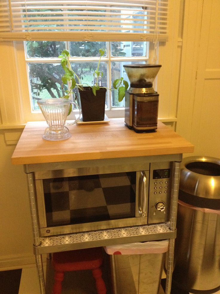 Microwave stand/coffee station. Retro redo, vintage kitchen