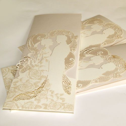 Couple-Personalised-Wedding-Invitations-Laces-Laser-Cut-Free-P-P-FREE-ENVELOPES