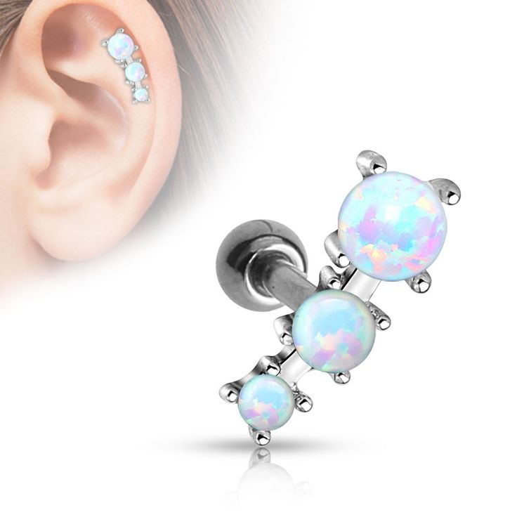 "Triple Opal Tragus/Cartilage Ball 316L Surgical Steel Barbell 16ga Body Jewelry Specifications: 16ga 316L Surgical Steel 1/4""(1.2mm) Bar length 4mm Ball"