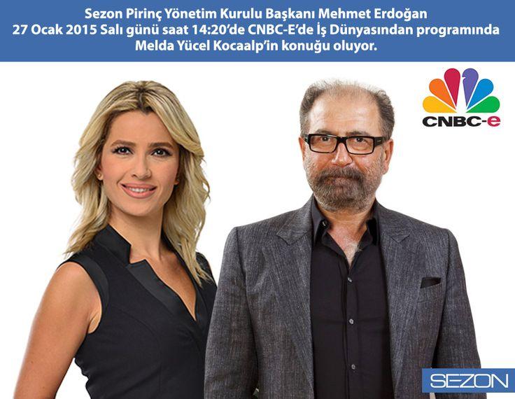 Yönetim Kurulu Başkanımız Mehmet Erdoğan, bugün 14:20'de CNBC-E İş Dünyasından programında Melda Yücel Kocaalp'in konuğu oluyor.